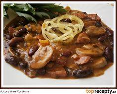 Fazolový guláš s uzeninou a žampiony Lentils, Stew, Entrees, Spaghetti, Good Food, Beans, Food And Drink, Healthy Recipes, Healthy Food