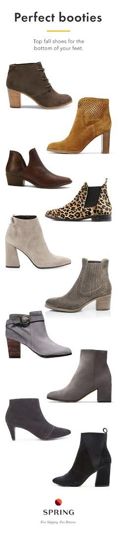 Love the lightest grey boo tie about halfway up. The shape of the heel is awesome! Bootie Boots, Shoe Boots, Ankle Boots, Fall Booties, Cute Shoes, Me Too Shoes, Fashion Shoes, Fashion Accessories, Facon