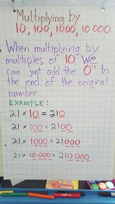 Multiplying by multiples of 10 (whole numbers) Anchor Chart Multiplication Anchor Charts, 4th Grade Multiplication, Math Charts, Math Anchor Charts, Fifth Grade Math, Grade 3, Fourth Grade, Teaching Math, Teaching Tools