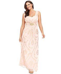 Xscape Plus Size Dress, Metallic Printed Gown - Plus Size Dresses - Plus Sizes - Macys