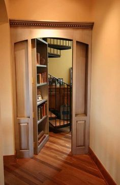 Because why the hell wouldn't I want secret passages in my house? (Secret door open by Steve Kuhl) Hidden Rooms In Houses, Hidden Spaces, Passage Secret, Home Engineering, Home Library Rooms, Bookcase Door, Revolving Bookcase, Bookshelf Wall, Bookshelf Design