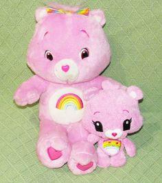 "2 Pink Care Bears Talking  Singing 14"" CHEER BEAR & 7"" Plush Stuffed Animal Toys #any"