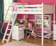 Loft bed that has a rail on ladder and a shelf which is perfect for my tern bed room.