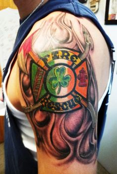 'Irish Firefighter' Tattoo (shoulder) | Shared by LION
