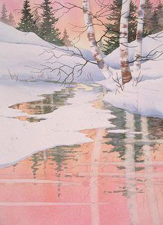 Winter Birch Reflections. Watercolor, 15 x 22