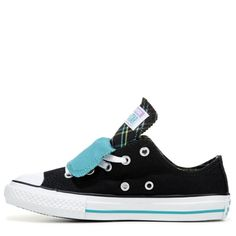 30a3c7c96584cf Converse Kids  Chuck Taylor All Star Double Tongue Low Top Sneakers  (Black Aqua