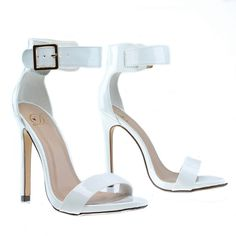 ankle straps heels and hardhats White High Heels, Ankle Strap High Heels, Ankle Straps, Prom Heels, Open Toe Shoes, Fashion Heels, Custom Shoes, Dress Sandals, Stiletto Heels