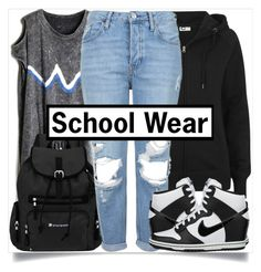"""Back to School Style"" by madeinmalaysia ❤ liked on Polyvore featuring Sherpani, Topshop, NIKE, shoes, bag, top, pants and hoodie"