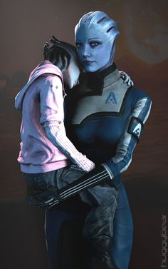 Mass Effect - Liara and her daughter (Mother and Child by on DeviantArt) Mass Effect Characters, Mass Effect Games, Mass Effect Art, Female Characters, Aliens, Mass Effect Universe, Commander Shepard, After Life, Mother And Child