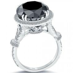 9.01 Ct. Natural Black Diamond Engagement Ring 18k Gold Pave Halo Vintage Style