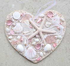Items similar to Heart with Shells Sea Shell Heart Wooden Heart Plaque with Shells Beach Heart Sea Shell Decor Heart Decor Beach Wedding Bridal Gift Coastal on Etsy Sea Crafts, Mosaic Crafts, Rock Crafts, Arts And Crafts, Little Girl Crafts, Little Gifts, Crafts For Kids, Seashell Art, Seashell Crafts