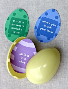 Easter Egg Hunt w/free printable clues! Clue cards are generic so they will work in any home and with kids of all ages too!