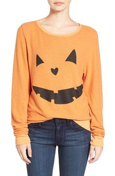 Free shipping and returns on Wildfox 'Baggy Beach Jumper - Pumpkin Love' Pullover at Nordstrom.com. A cheerful jack-o'-lantern grins from the front of a supersoft, relaxed-fit pullover that's perfect for all kinds of spooky seasonal fun.