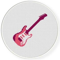 FREE for April 25th 2015 Only - Pink Electric Guitar Cross Stitch Pattern