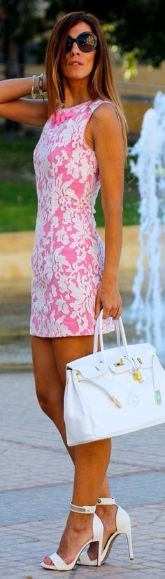 Pink with White Lace Overlay - Love Entire Outfit!!!!