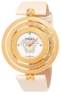 Versace Women's 80Q80SD497 S002 Eon 3 Rings Ivory Satin and IP Rose Gold with Mother-of-Pearl Dial and Diamond Accents Watch