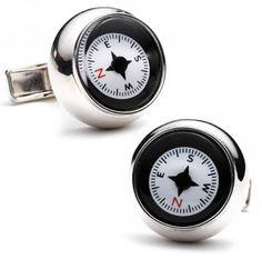 Sterling Silver Compass Cufflinks