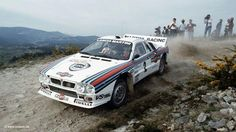 Walter Röhrl in command of his Lancia 037, at the Rally of Portugal 1983.