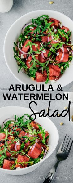 Arugula and Watermelon Salad - Peppery arugula topped with sweet, icy cold watermelon, crunchy red onion slivers, briny crumbled feta, and balsamic vinegar that was so concentrated it tastes almost sweet. All things combine to form the perfect summer salad! Healthy Eating Recipes, Healthy Salads, Healthy Cooking, Lunch Recipes, Summer Recipes, Easy Recipes, Healthy Food, Watermelon Salad Recipes, Watermelon And Feta