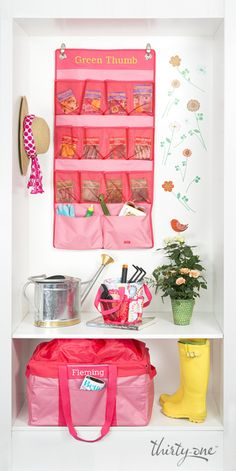 Like all things, gardening season is more organized and efficient with Thirty-One! Check out 31's Space Saver (hanging) and Deluxe Utility Tote with Cinch Top!