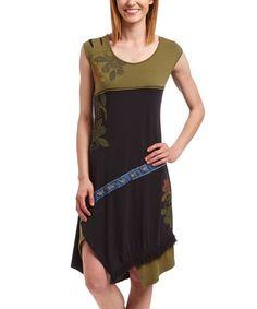 Another great find on #zulily! Black & Green Arabesque Sleeveless Dress - Women #zulilyfinds