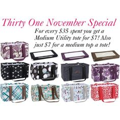 November Special. Wow..what a great deal and price. Makes great Christmas gifts.www.mythirtyone.com/439667 or schmolze1971@yahoo.com