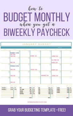 Are you struggling with the best way to create a monthly budget with a biweekly paycheck? Learn how to organize bill lists, set up expenses, use a budget calendar and more. Start managing your money like a boss, today! Budgeting Process, Budgeting Finances, Budgeting Tips, Weekly Budget Printable, Weekly Budget Planner, Budget Binder, Sample Budget, Budget Spreadsheet, Monthly Planner