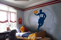 Large Basketball Player With Ball Wall Decal - Sports Wall Decoration for Room or Playroom via Etsy