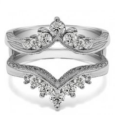 Chevron Style Ring Guard with Millgrained Edges and Filigree Cut Out Design. This ring guard combines chevron style with vintage looks. It has millgrained finish with filigree cut out designs. It also has round prong set stones, giving it a perfect combin Cool Wedding Rings, Wedding Rings Vintage, Vintage Rings, Wedding Bands, Wedding Stuff, Wedding Ideas, Dream Wedding, Wedding Wraps, Wedding Set