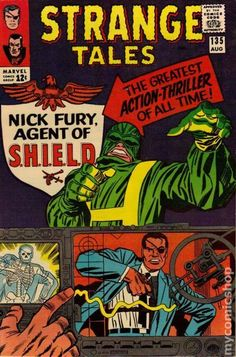 This is a key issue in that it features the first appearance of Nick Fury, Agent of Shield and features a classic Kirby cover. It also features a Dr. Strange story by Steve Ditko. Stan Lee Signed Strange Tales Nick Fury by Jack Kirby). Silver Age Comics, Jack Kirby, Stan Lee, Marvel Comic Books, Comic Books Art, Book Art, Thor, Nick Fury Marvel, Videogames