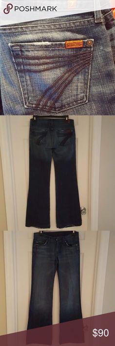 7 for all mankind Dojo jeans 7 FAM DoJo flare leg denim jeans slight distressing, wear on hems as shown in picture EUC 7 For All Mankind Jeans