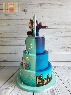 Half Spiderman / half the little mermaid  by Kokoro Cakes by Kyoko Grussu