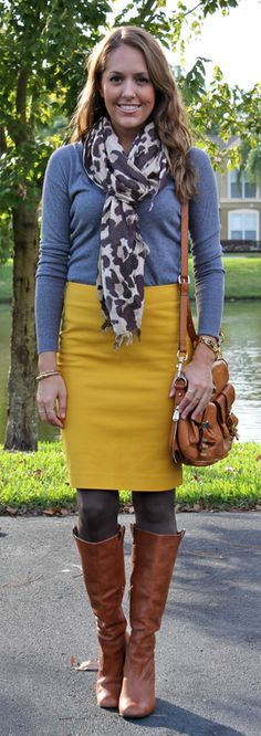 Yellow pencil skirt, brown boots, tights, gray top, patterned scarf