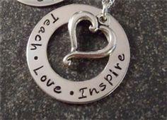 Teach Love Inspire Sterling Silver Teacher Gift