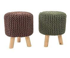 Set di 2 pouf poggiapiedi in legno e cotone Tricot - d 32/h 40 cm