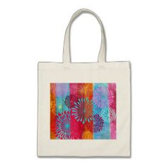 Pretty Bold Colorful Flower Bursts on Wide Stripes Bag