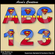 Superman Justice League Alphabet Letters & Numbers Clip Art