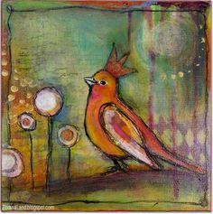 mixed media painting  canvas bird crown Zorana art Zoranaland