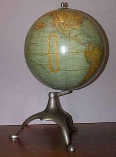 New 12 inch Terrestrial Globe , Rare Globesellers Label , plus Unusual Nickel… Old Globe, Globe Art, Vintage Maps, Antique Maps, Paris Map, Old Maps, Plating, Portland Maine, City Maps