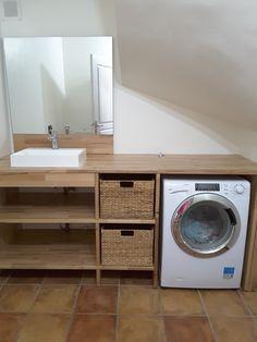 Great idea, but putting doors over the front. Narrow Bathroom, Laundry Room Bathroom, Bathroom Floor Tiles, Laundry Room Design, Bathroom Layout, Bathroom Interior Design, Modern Bathroom, Black White Bedrooms, Condo Design