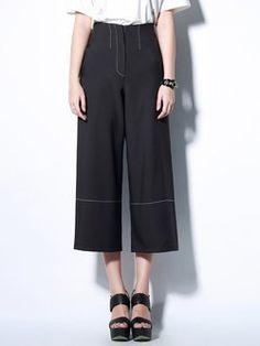 Black Casual Pockets Polyester Plain Wide Leg Pant