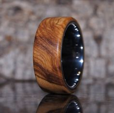 Wood Ring Size 9 - Olive wood and tungsten ring