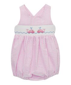 Pink Seersucker Whales Smocked Bubble Romper - Infant