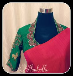 Beautiful high neck embroidered blouse Blouse Back Neck Designs, Best Blouse Designs, Simple Blouse Designs, Stylish Blouse Design, Sari Blouse Designs, Designer Blouse Patterns, Dress Designs, South Indian Blouse Designs, Simple Embroidery Designs
