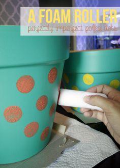Pretty DIY Polka Dot Planter Project