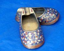 Cendriers de chaussure Vintage Set de 4 laiton