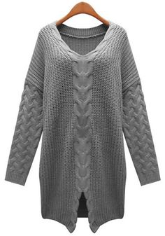 Love Oversized Sweaters! Love this Knit Design! Grey Plain Bat Sleeve Loose Pullover
