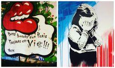 De nombreux street artists, en France et partout dans le monde, réagissent aux attentats du 13 novembre en taguant sur les murs de leurs villes leurs hommages à la capitale endeuillée. C'est joli et ç
