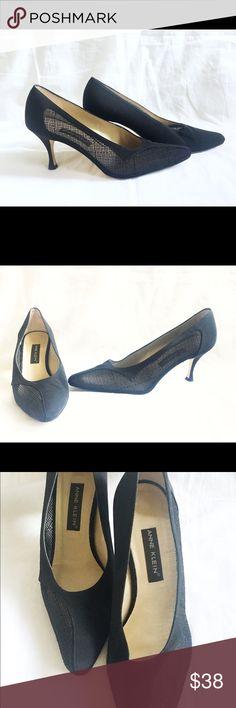 Anne Klein Vintage solid & mesh skinny heel pumps Anne Klein Vintage skinny heeled mesh and solid black pumps size 7.5 M Anne Klein Shoes Heels