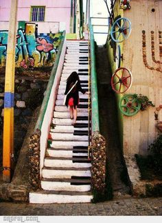 Piano stairs in Valparaiso, Chile. I have been here. Wish I had taken a picture next to it....